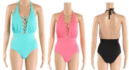 24 Bulk Womens 1 Piece Bathing Suite Assorted Colors With Adjustable Straps