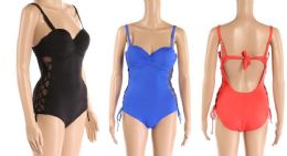 24 Bulk Womens Bathing Suite Assorted Colors With Adjustable Straps