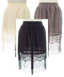 18 Bulk Plus Plus Lace Shell Knee Length Skirt Assorted