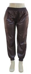 12 Bulk Plus Faux Leather Joggers Brown