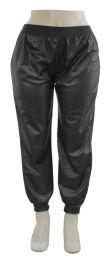12 Bulk Plus Faux Leather Joggers Black