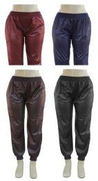 24 Bulk Plus Faux Leather Joggers Assorted