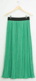 12 Bulk Elastic Band Pleated Maxi Skirt Kelly Green