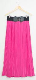 12 Bulk Faux Belt Maxi Skirt Hot Pink