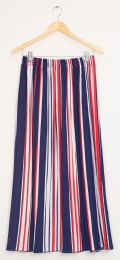12 Bulk Stripe Pleated Maxi Skirt Red White Blue