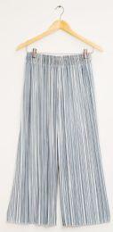 12 Bulk Stripe Wide Leg Pleated Trousers Ice Blue