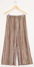 12 Bulk Stripe Wide Leg Pleated Trousers Sepia Taupe