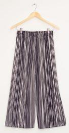12 Bulk Stripe Wide Leg Pleated Trousers Black Stripe