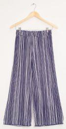 12 Bulk Stripe Wide Leg Pleated Trousers Navy Stripe
