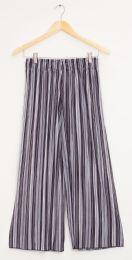 12 Bulk Stripe Wide Leg Pleated Trousers Black Grey Stripe