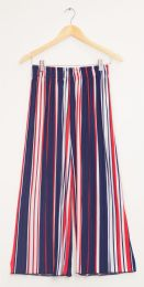 12 Bulk Stripe Wide Leg Pleated Trousers Red And White