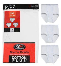 36 Bulk Men's 3 Pack White Color Cotton Brief, Size Large