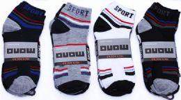 60 Bulk Mens Light Weight Ankle Socks, Printed Performance Athletic Socks Size 10-13