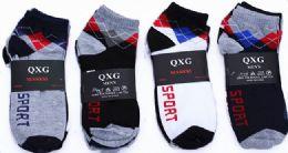 60 Bulk Mens Light Weight Ankle Socks, Printed Performance Athletic Socks Size 10-13 Argyle Printed Socks
