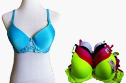 60 Bulk Fashion Padded Bras Packed Assorted Colors With Adjustable Straps