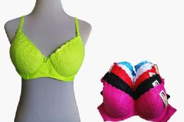 60 Bulk Fashion Padded Bras Packed Assorted Colors With Adjustable Straps Neon Color Bras