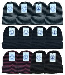 24 Bulk Yacht & Smith Unisex Knit Winter Hat With Stripes Assorted Colors