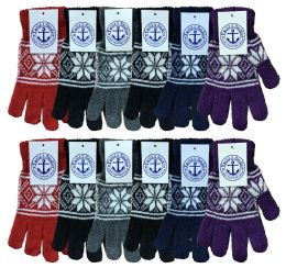 36 Bulk Yacht & Smith Snowflake Print Womens Winter Gloves With Stretch Cuff