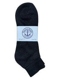 24 Bulk Yacht & Smith Men's Cotton Terry Cushion Athletic Low-Cut Socks King Size 13-16 Black