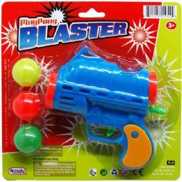 """72 Bulk 5"""" Ping Pong Toy Gun Play Set On Blister Card, 3 Assrt"""