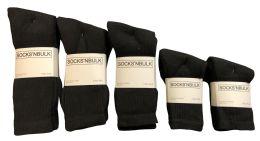 960 Bulk Mixed Sizes Of Cotton Crew Socks For Men Woman Children In Solid Black