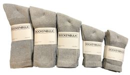 960 Bulk Mixed Sizes Of Cotton Crew Socks For Men Woman Children In Solid Gray