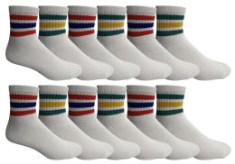 48 Bulk Yacht & Smith Men's Cotton Sport Ankle Socks With Terry Size 10-13 Solid White With Stripes
