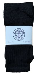 60 Bulk Yacht & Smith Kids Solid Tube Socks Size 6-8 Black Bulk Pack