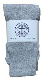 60 Bulk Yacht & Smith Kids Solid Tube Socks Size 6-8 Gray Bulk Pack