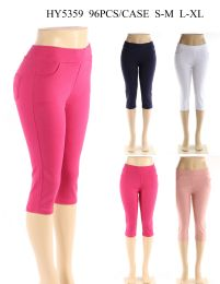 24 Bulk Womens Capri Pants In Assorted Solid Colors