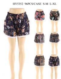 24 Bulk Women Fashion Assorted Printed Shorts