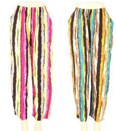 24 Bulk Womens Fashion Striped Pants