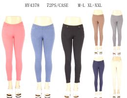 24 Bulk Womens Fashion Solid Color Assorted Pants