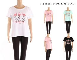 24 Bulk Womens Flamingo Tee Shirt