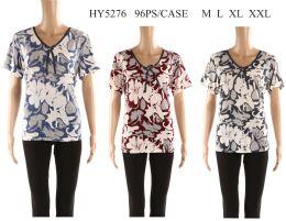 48 Bulk Womens Printed Floral Tee Shirt