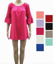 24 Bulk Womens Short Summer Solid Color Dress In Assorted Color