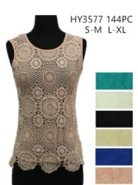 24 Bulk Womens Summer Lace Top Assorted Colors