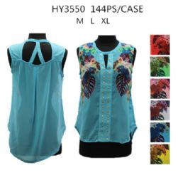 36 Bulk Womens Fashion Summer Printed Top Assorted Colors