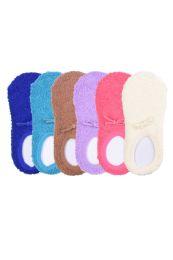120 Bulk Women's Plush Soft Slipper Socks With Gripper Bottom Size 9-11