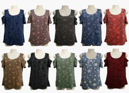 48 Bulk Womens Assorted Color Star Tee