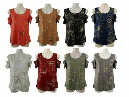 48 Bulk Womens Assorted Color Gold Toned Tee