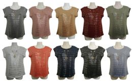 48 Bulk Womens Assorted Color Shimmer Tee With Neckace