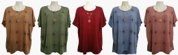 48 Bulk Womens Assorted Color Tee With Necklace