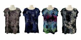 48 Bulk Womens Assorted Color Tye Dye Star Tee Shirt
