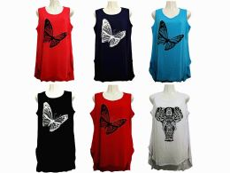 48 Bulk Womens Assorted Color Butterfly Tank Top