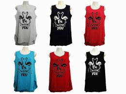 48 Bulk Womens Assorted Color Be With You Tank Top
