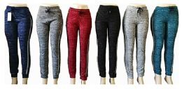 48 Bulk Womens Assorted Color Pants With Stripe