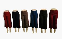 48 Bulk Womens Loose Straight Solid Color Pants With Stripe