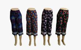 48 Bulk Womens Loose Straight Floral Pants