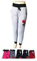 48 Bulk Womens Active Yoga Lounge Sweat Pants With Pockets And Rose